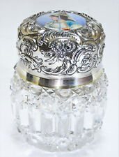 Antique Cut Crystal Enameled Inkwell w/ Hinged Sterling Lid