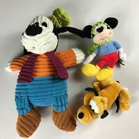 Disney Plush Lot Of 3 Mickey Mouse Cordy Goofy Pluto Beans Parks Store Animals