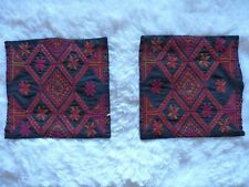 Set of 2 Small Cross Stiched Pillow Shams Black Red Orange Tan DYI Decor Pillows