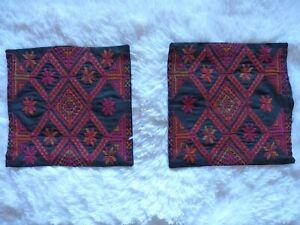 Set of 2 Small Cross Stitched Pillow Shams Black Red Orange Tan Decor Pillows