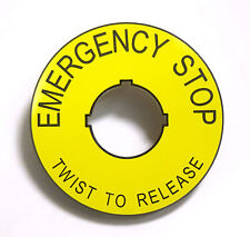 ABS Safety Yellow Emergency Stop label/legend plate - Twist