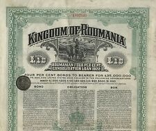 Kingdom of Roumania – 4% bond de 1922, 10 pounds – completo con cupones!
