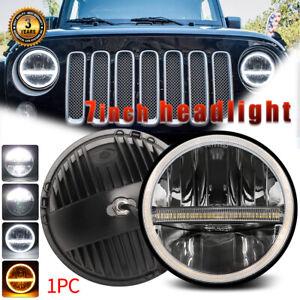 "DOT 7"" Inch Round LED Headlight Halo Angel Eye DRL For Jeep Wrangler JK LJ TJ CJ"