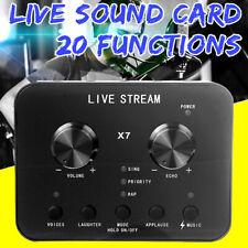 Sound Card Audio Interface External USB Live Broadcast Mic PC Double Voice Track