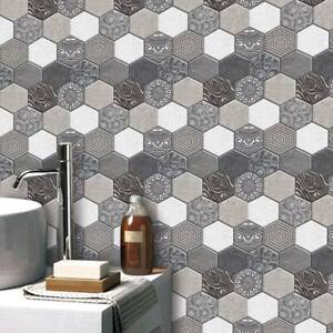 3D Tile Sticker PVC Wall Decal Removable Hexagon Wallpaper Adhesive Home Decor