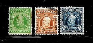 HICK GIRL-USED NEW ZEALAND STAMPS  SC#130,133,138  1909-12  EDWARD VII     D950