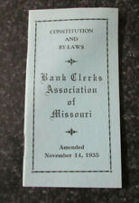 Bank Clerks of Missouri 1935 Constitution & Bylaws booklet, original, 24 pages