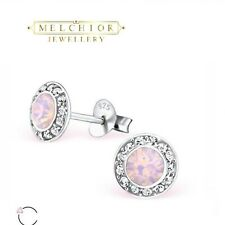 366da621c Sterling Silver Pink Opal Stud Earrings Made With Swarovski Elements