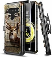 For LG V50 ThinQ Case Armor Belt Clip Cover + Tempered Glass Screen Protector