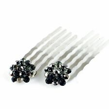 Mini Hair Comb Clip use Swarovski Crystal Hairpin Wedding Bridal Dark Gray C04