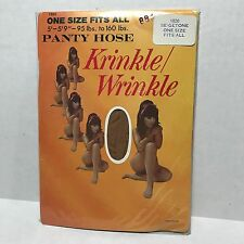 Vtg Pantyhose Krinkle Wrinkle Nylon Beige Tone One Size Fits All Stretch Nos