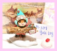 ❤️Wee Forest Folk M-337 Yule Log Noel Christmas Winter Snow Red Mouse WFF❤️