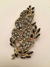 Beautiful Vintage Crystal Leaf Brooch