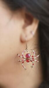 Handmade Beaded Spider Earrings(Use Red Crystal & Culture Pearl) one paris