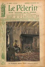 Portrait Fileuse Quenouille Ferme Cheminée Village Limousin 1913 ILLUSTRATION