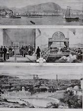 1910 PRINT KING EDWARD VII PRINCE EDWARD AT MONTREAL VICTORIA BRIDGE ST LAWRENCE