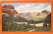 Montana Postcard LOGAN PASS Going-to-Sun Glacier National Park Red Border Linen