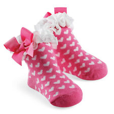 Mud Pie Baby WHITE HEARTS ON PINK SOCKS 173195 Pretty In Pink Collection