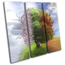 Four Seasons Tree Surrealism Fantasy TREBLE TOILE murale ART Photo Print