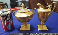 1917 T&V LIMOGES France Pedestal Creamer & Sugar Bowl Set STOUFFER Painted WOW