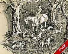 HARK TO BLUEBELLS HOUNDS IN FOX HUNT FOXHUNTING ART PAINTING CANVAS PRINT