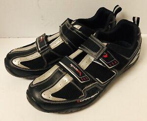 Garneau Black Silver MultiRx Cycling Shoes Men 11.5 US w/ Clips
