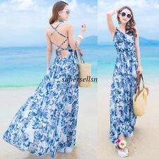 Korean Women Chiffon Empire Waist Party Boho Maxi Swing Summer Long Beach Dress
