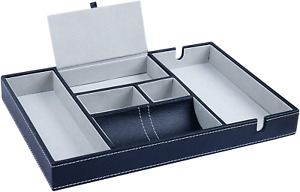 Valet Tray - 35.3x24.2cm Men's Leatherette Valet Organiser Tray with 6 & 2 for -