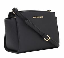 MICHAEL KORS LADIES LEATHER HANDBAG to SHOULDER hand Black Medium Messenger Selm