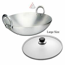 Indian Wok (Aluminium Kadhai / Kadai) with Lid LARGE - 2.5 KG