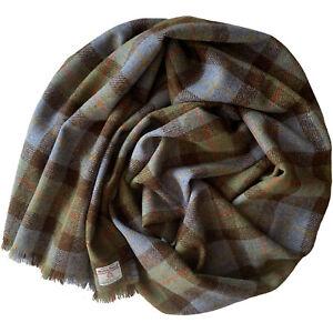 Harris Tweed MacLeod Tartan Check Pure Wool Wrap Shawl Oversized Scarf