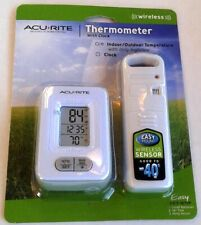 AcuRite Wireless Thermometer Indoor/Outdoor Temperature Clock Easy~Mount & Read