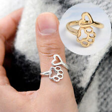 Women Cute Paw Print Love Heart Ring Open Adjustable Dog Pet Ring Gold