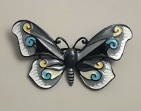 Unique Large artistic butterfly  brooch pin in enamel on metal