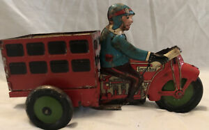 Vintage Marx Speed Boy Delivery Metal Rolling Toy Motorcycle & Trailer