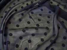 FLOCKED SPOT CHIFFON-BLACK-DRESS FABRIC-FREE P&P