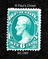 US DEPT OF STATE OFFICIAL STAMP SC O060 6¢ LINCOLN 1873 MINT ORIGINAL GUM  F/VF