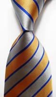 New Classic Striped Gray Gold Blue JACQUARD WOVEN 100% Silk Men's Tie Necktie