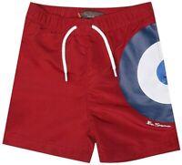 BEN SHERMAN Boys Red Mesh Lined Target Swimming Beach Swim Shorts > Age 8-9 yrs