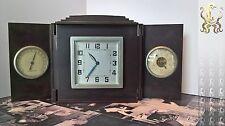 Art Deco Vintage Plegable Reloj De Baquelita Marrón Oscuro/Barómetro/Termómetro