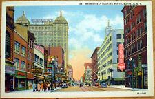 1940s Buffalo, NY Linen Postcard: Main Street Looking North, Ford's Drug Store
