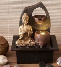 GOLDEN BUDDHA FEATURE WITH 2 WATER CUPS THAI MEDITATION PRAYING FOUNTAIN