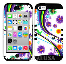 For Apple iPhone 5c KoolKase Hybrid Armor Silicone Cover Case - Purple Flower 93