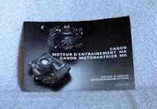 Manuale Canon Motor Drive MA in lingua tedesca e francese