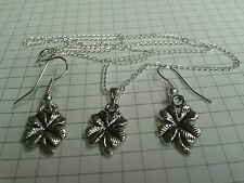 "TIBETAN SILVER[SET] "" LUCKY 4 LEAF CLOVERS"" PENDANT+ EARRINGS 18""or20""NECKLACE"
