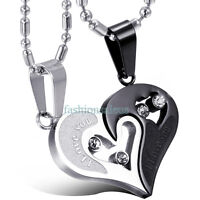 "2pcs Heart Couple Necklace Set ""I LOVE YOU"" Stainless Steel Pendant Chain Gift"