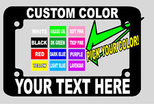 MOTORCYCLE CHOICE OF TEXT COLOR CUSTOM PERSONALIZED License Plate Frame