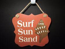 """Surf Sun Sand"" Decorative Plaque, 7 1/2"", Coastal Collection, New"