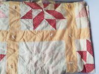 """Vintage Handmade Quilt Blanket 2 Sided Reversible Floral Patchwork 66"""" x 70"""""""