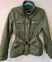 Boohoo Belted Green Hunters Aviator Coat Parka Jacket Size UK 10 VGC